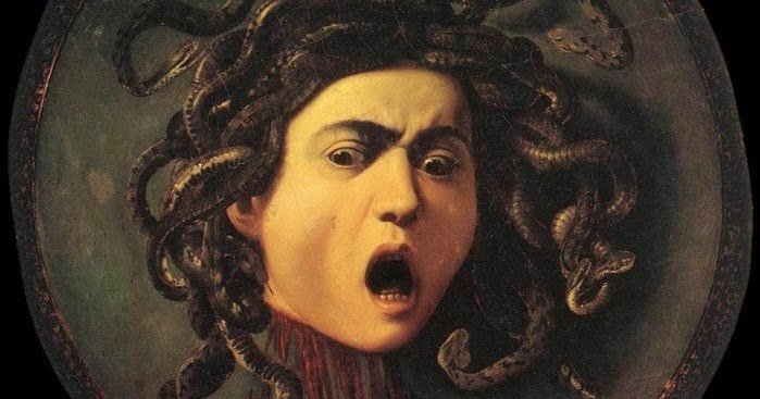 Caravaggio,  Medusa,  1597, oil on canvas mounted on wood.
