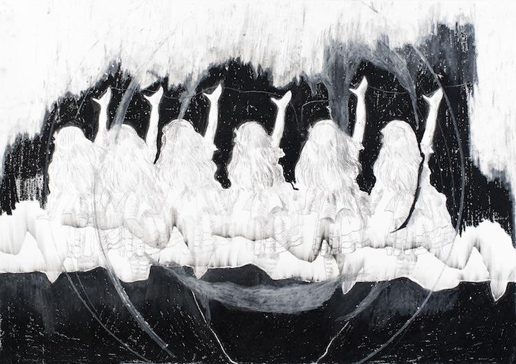 Yifat Bezalel, Eashon (Pupil) , 2013, 70 x 100 cm, carbonate paper and oil pastel on paper