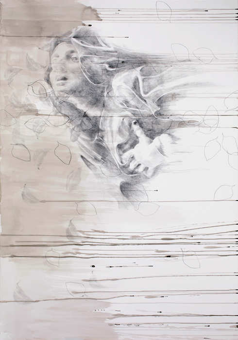 "Yifat Bezalel, ""Mesira (Transmission)"" 2010. Drawing, pencil and ink on paper, 100 x 70 cm."