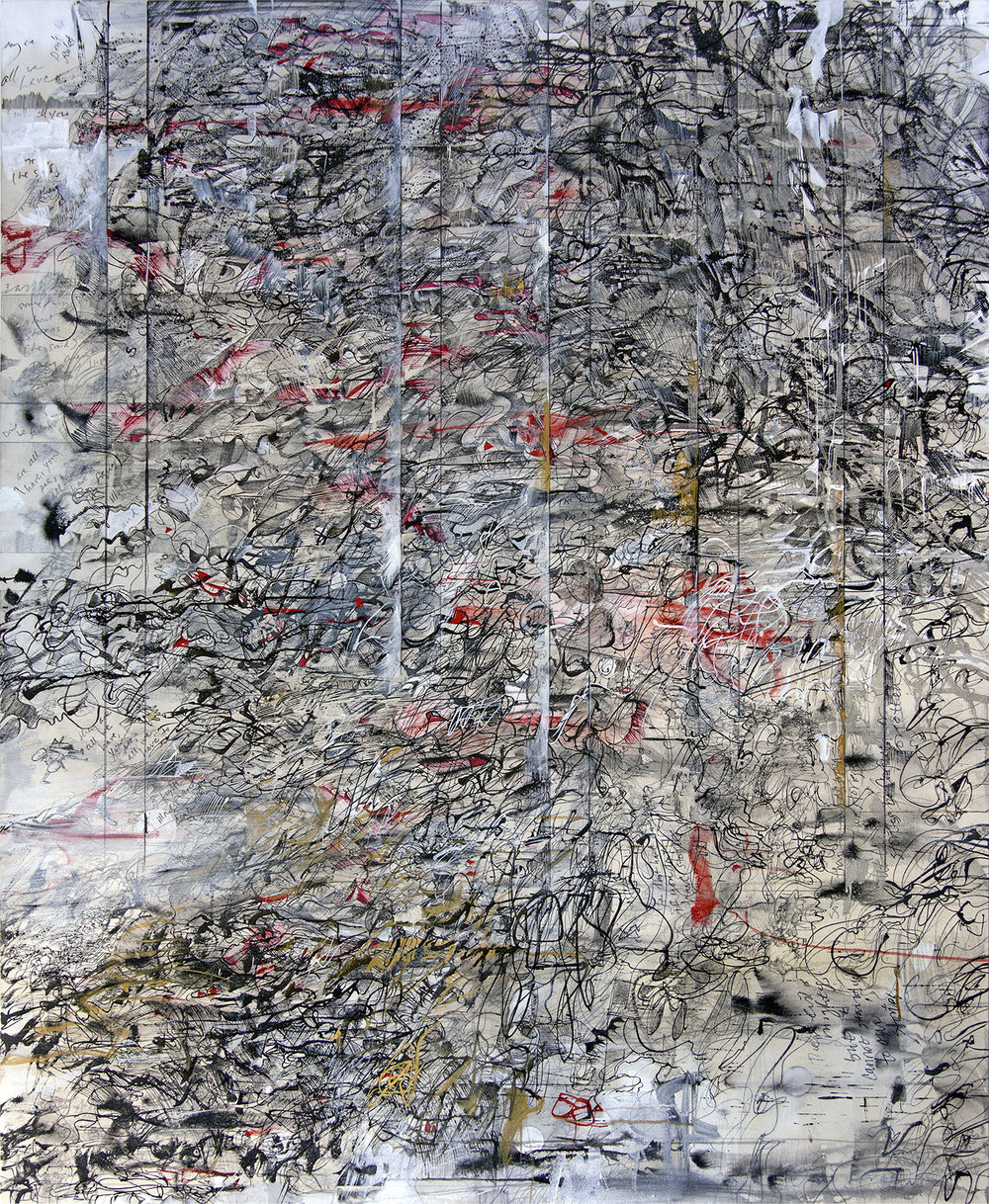 Moonbeam Redaction, Christine McPhee. -  shellac-based and acrylic inks, watercolor, graphite, rabbit skin glue on canvasCollection of the Center for Corporeal Writing, Portland, OregonText in the painting is from