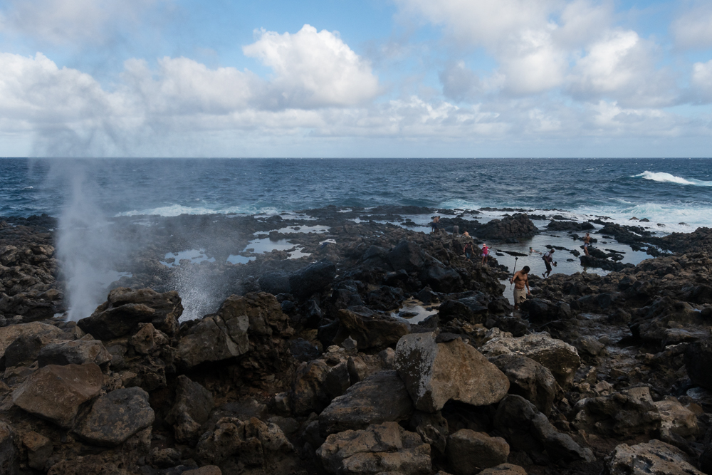 A blow hole in the rocky shore at Makapu'u Point.