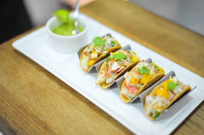 Lobster and grilled Mango tacos
