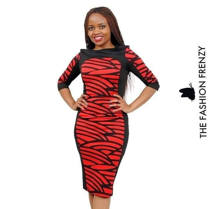 TFFFG57-Red & Black colourblock dress [2103964].jpg