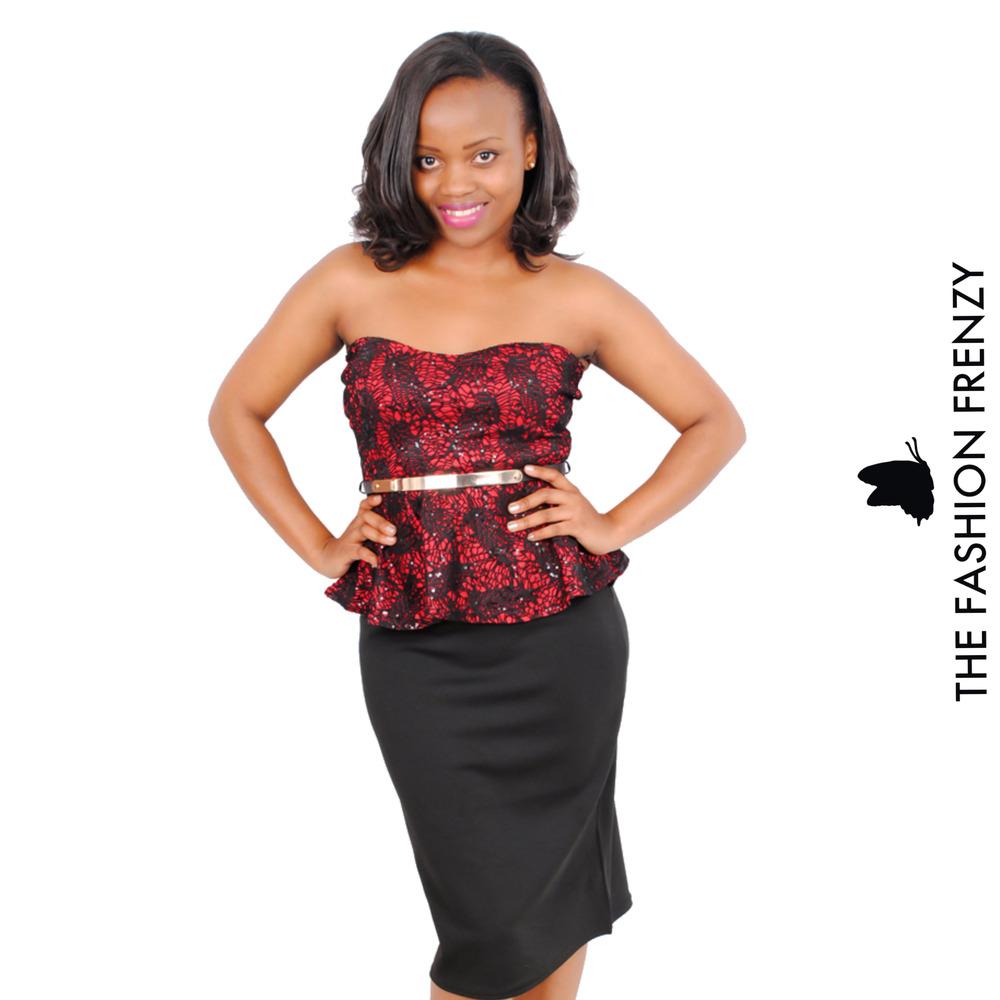 TFFFG60 Red & Black tube peplum dress [2103967].jpg