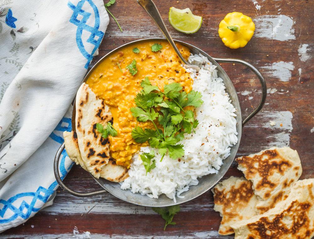 Vegan peanut lentil curry