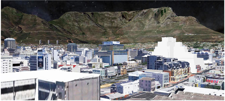 Bird's Eye View Photo-montage utilizing Google Earth and SketchUp, showing the proposed building (in white towards the right) in its setting, with the Buitengracht, Heritage Square and Riebeeck Square in the centre. Note the 60m height of the City Park Hospital—the same height as the proposed building under review! (Courtesy Wynand Tromp of Rick Brown Architects)