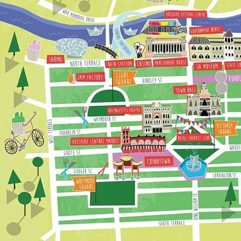 Did you spot my #adelaide map in the special edition of @thecityadelaide on Sunday? What a fun one to illustrate! You can see it again in this Thursdays paper too! ✌🌈🚲 #illustration #editorial #frogcake #adelaidecreatives #city #map