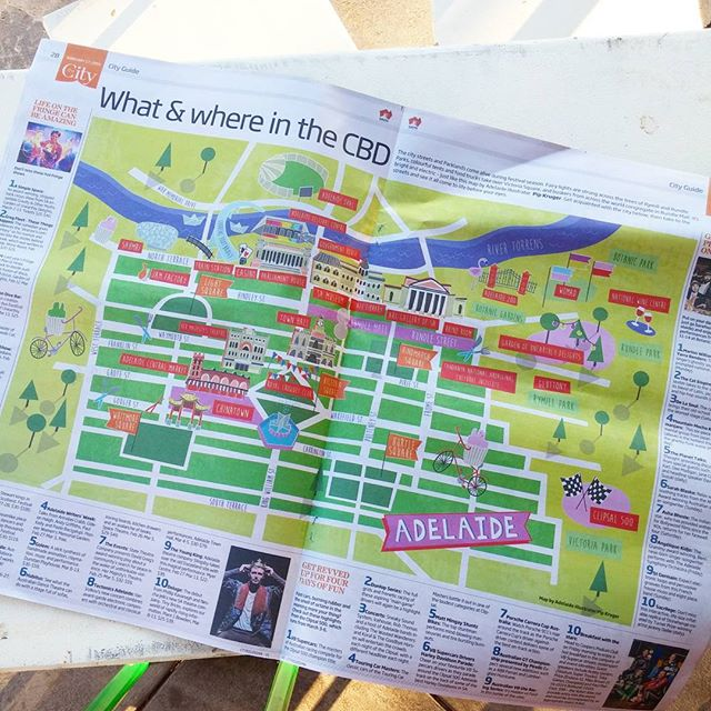 A proud moment happening in the burbs right now. My first illustration centerfold!✌🌈🎉 Found in todays issue of @thecityadelaide. #adelaide #adelaidecreatives #illustration #map #paper #frogcake #radelaide