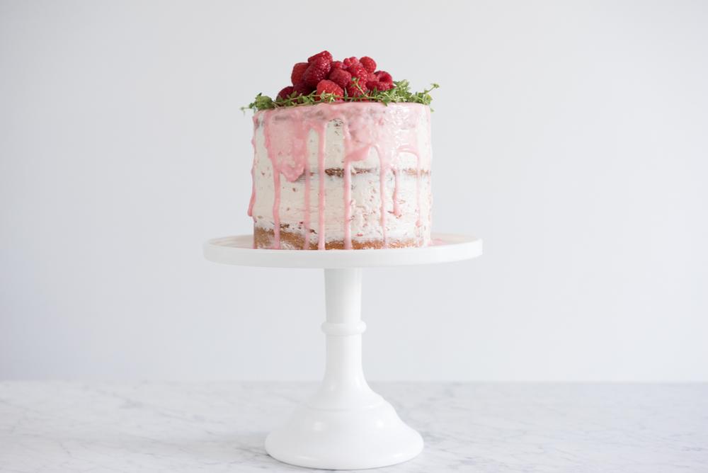 Orange thyme cake with fresh raspberry german buttercream