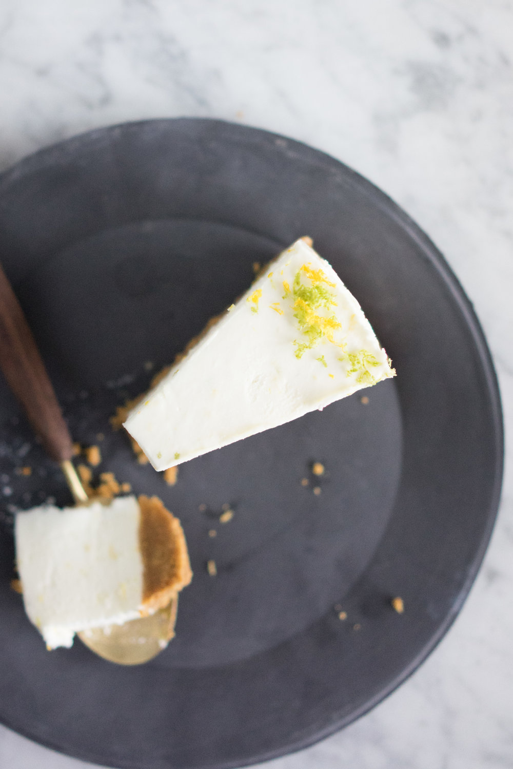 Lemon and Lime No bake cheesecake - the perfect make-ahead dessert that won't clog up precious oven space when preparing for a busy dinner party!