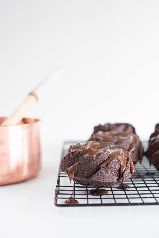 Earl grey chocolate bundt with lavender milk chocolate ganache