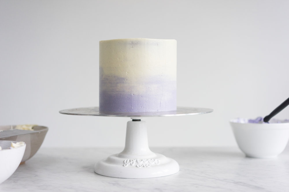 Honey lavender cake with vanilla german buttercream and lavender ganache drip