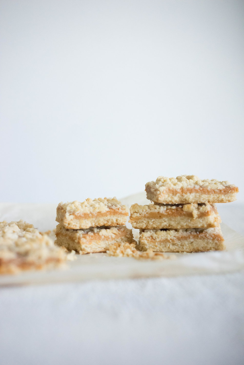 Tan square - shortbread base, condensed milk caramel, and a shortbread crumble