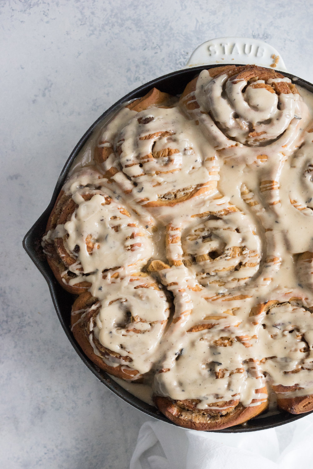 An earl grey infused dough, filled with an earl grey and brown sugar mixture, baked until caramelized, then finished with an earl grey infused glaze. A slightly different take on the classic cinnamon roll.