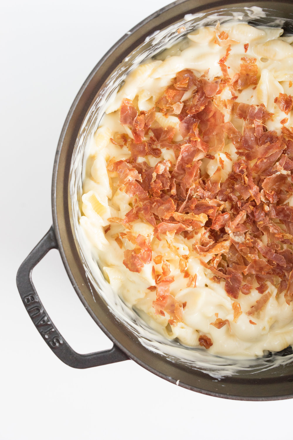 Crispy prosciutto mac and cheese with a crispy breadcrumb topping