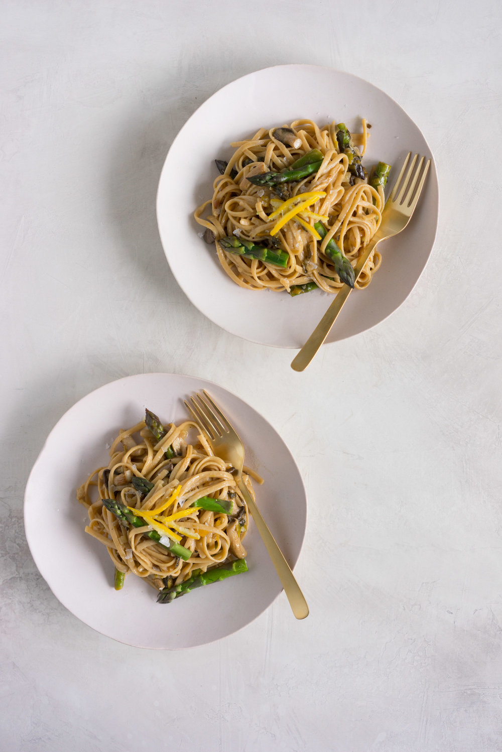 The perfect spring pasta - ramp, mushroom, asparagus, and preserved lemon linguine