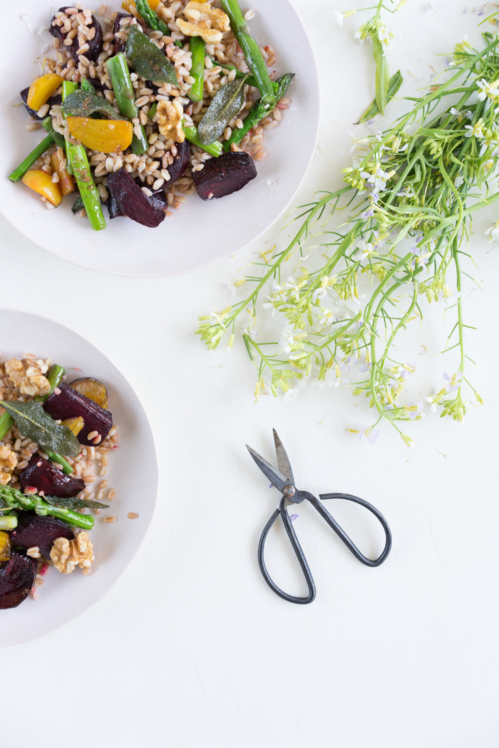 Asparagus and beet salad with farro, crispy sage, and lemon brown butter
