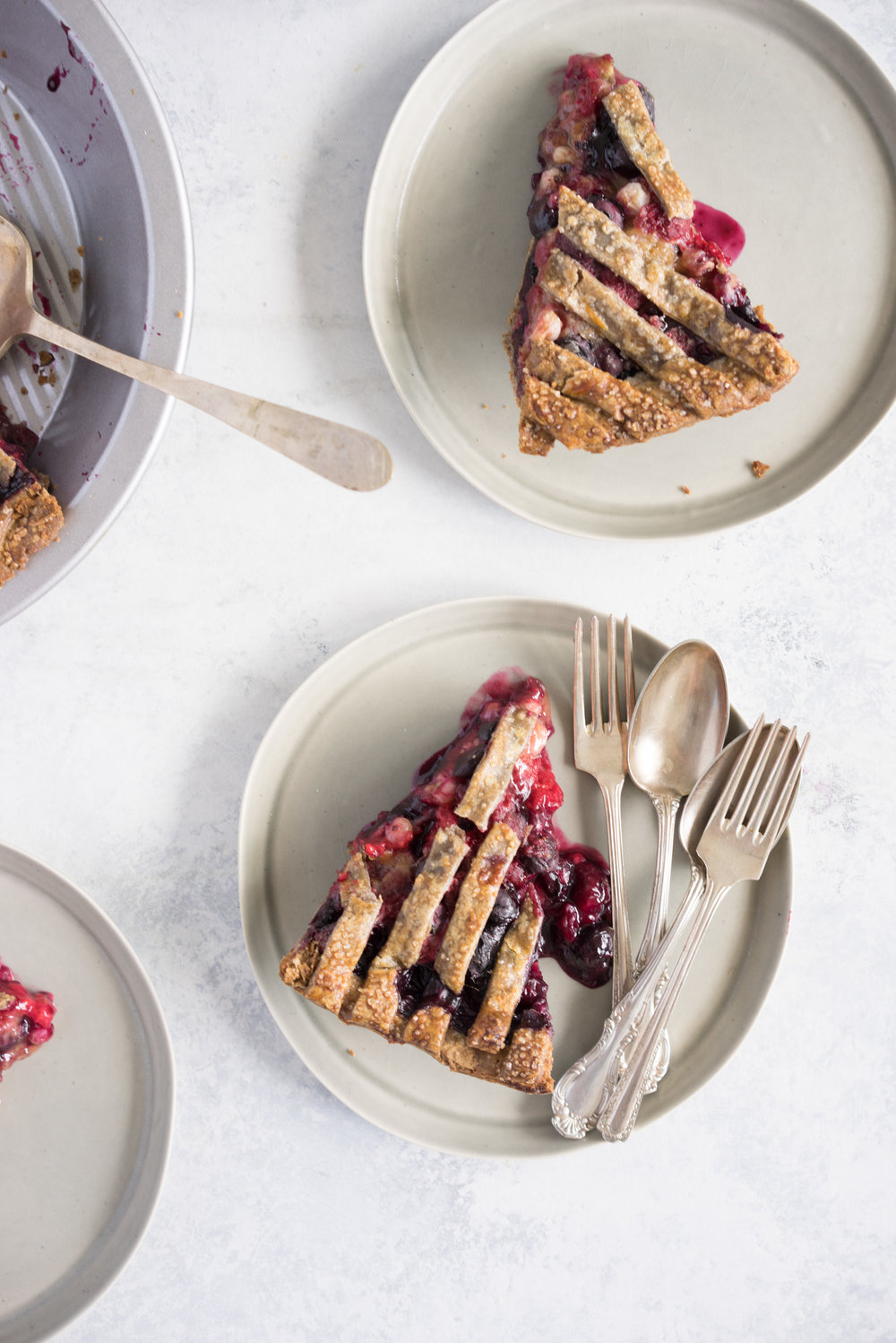 Blueberry, raspberry and white currant pie with buckwheat crust - the perfect 4th of july pie, or change the lattice up and you have the perfect summer dessert!