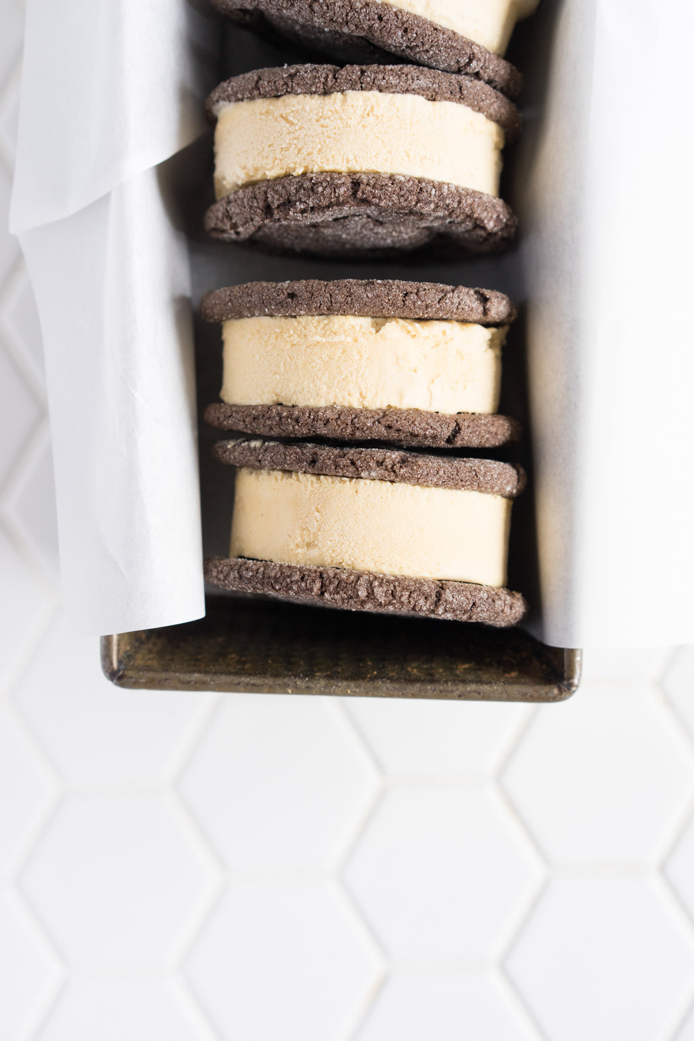 Chocolate earl grey ice cream sandwiches - creamy earl grey ice cream sandwiched between perfectly chewy chocolate sugar cookies. The dessert you never knew you needed. Until now.