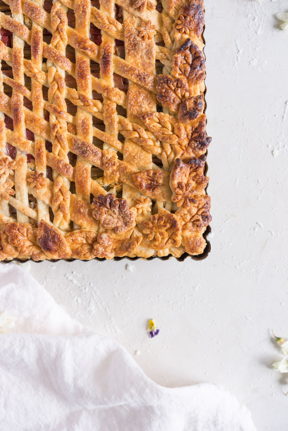 Rhubarb Frangipane Slab Pie - Flaky tender pie crust, sweet nutty frangipane, and vanilla infused roasted rhubarb. Perfect Spring or Early Summer Pie