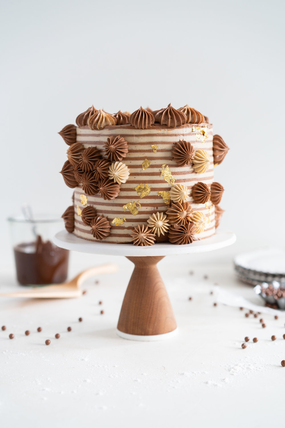 Chocolate Brownie Cake with Chocolate Hazelnut filling and Mocha German Buttercream - perfectly indulgent.