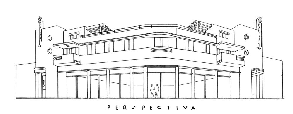 Perspectiva del Edificio Paliza, Calle Arzobispo Nouel esq. Palo Hincado, S.D. 1938.