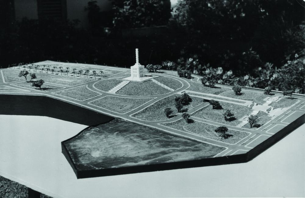 Modelo conceptual de Urbanización y Jardinería Monumento a la Paz de Trujillo, Santiago, 1944.