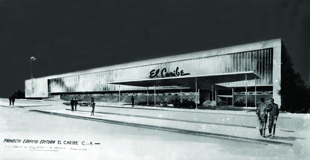 Anteproyecto Sede del Periódico El Caribe, S.D. c. 1958 –no realizado-.
