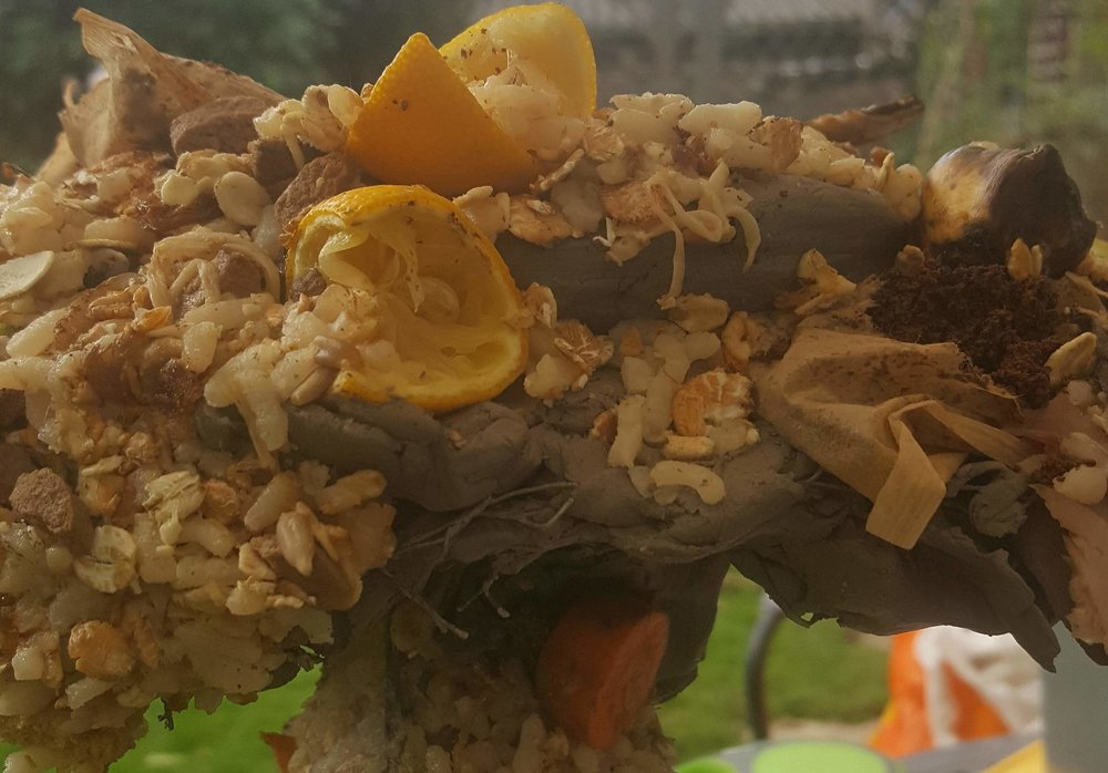 An experiment with shaping kitchen waste into forms
