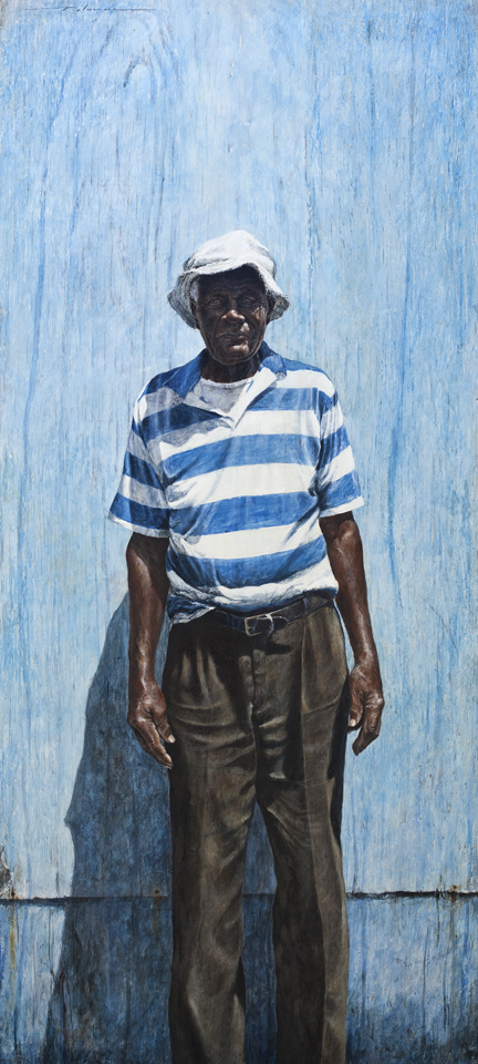 "Thierry Lamare, ""Mr. Louis Taylor"" Egg tempura on wood panel (48"" x 24"")"
