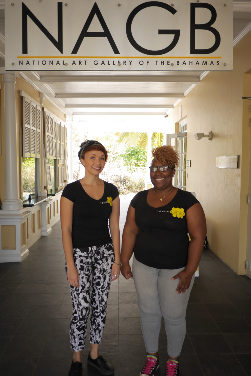 From left are NAGB Curatorial Assistant Natalie Willis and NAGB Community Outreach Officer Abby Smith. Willis and Smith will be traveling to Grand Bahama to raise awareness of the NAGB's planned satellite location.