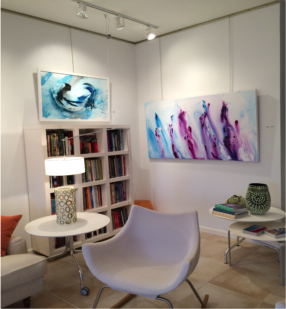 Toby Lunn's abstract works in a local interior design boutique.