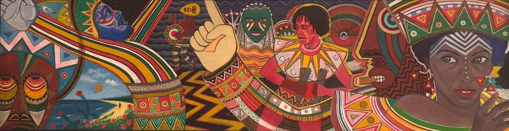 Stan Burnside, Spirits Rejoice, 1987. Oil on Canvas, 13 x 48 ins., D'Aguilar Art Collection.