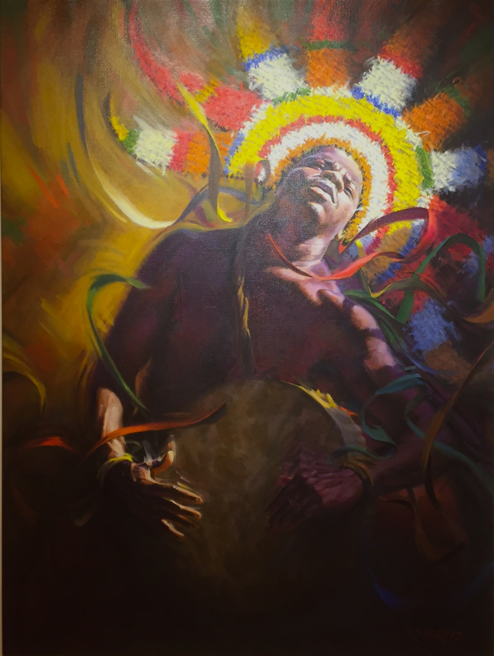 Rolfe Harris, Junkanooer,1991. Oil on Canvas, 50 x 40 ins., D'Aguilar Art Collection.