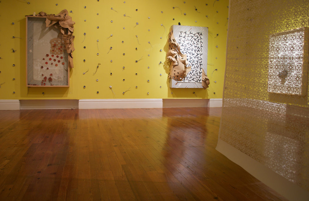 Installation shot of Double-Dutch: 'The Colour & The Shape' featuring the work of Kendra Frorup and Gabriel Ramos.