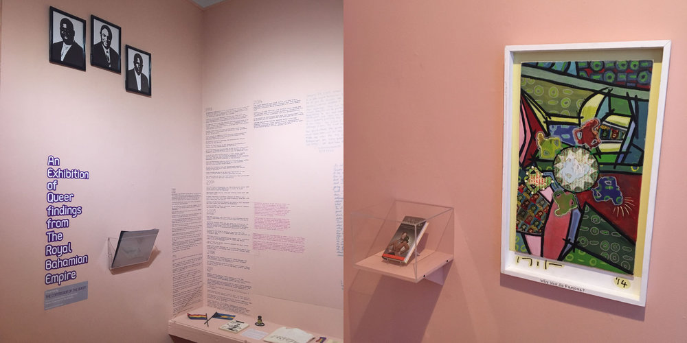 Installation view of artefacts and artworks from An Exhibition of Queer Findings from The Royal Bahamian Empire organized by The Commission of the Queer. Images courtesy of Jon Murray.