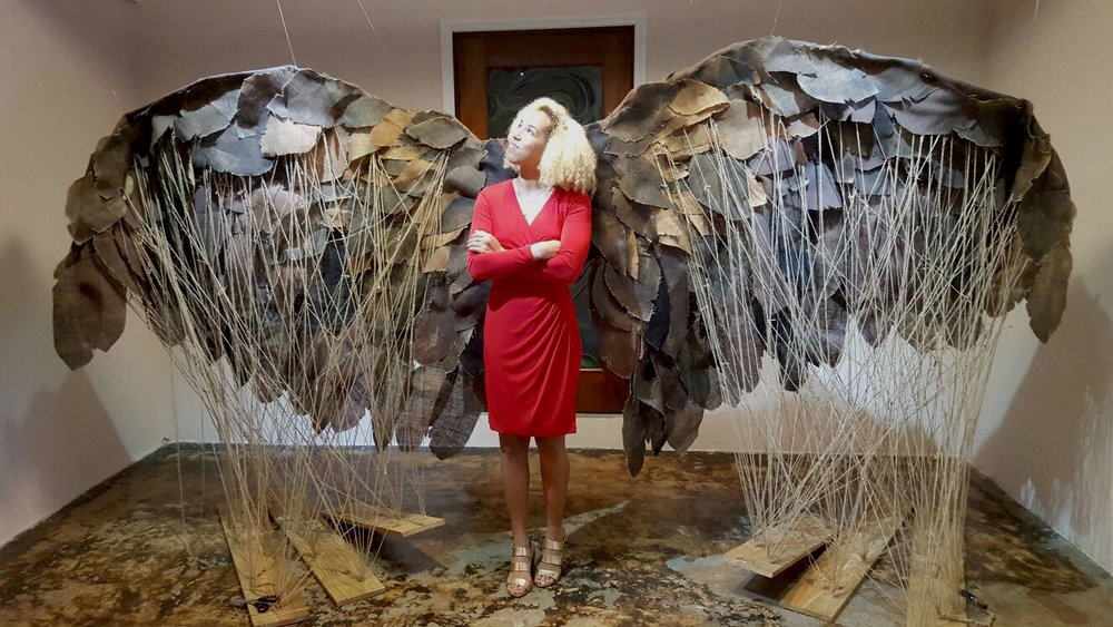 Cynthia Rahming pictured in front of her installation, 'The Gaulin Wife' (2016)