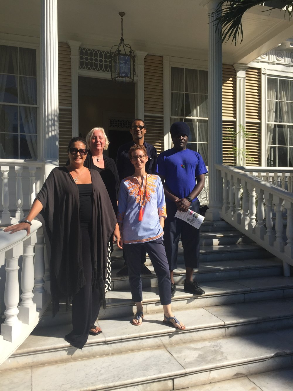 At Devon House, one of the locations for Jamaica Biennial 2017, with NGJ Director Veerle Poupeye (2nd left, back) and the 2017 selection committee, from left to right: Suzanne Fredericks, Amanda Coulson (bottom centre), Chris Cozier (to centre) and Omari Ra (far right)