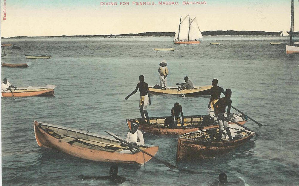 Diving for Pennies' (estimated c.1870-1930), hand painted colonial era postcard. Photographer unknown. Images courtesy of the NAGB.