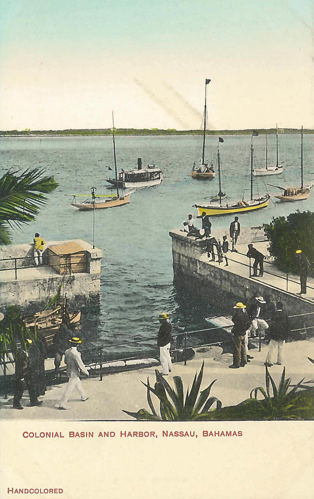 'Colonial Basin and Harbour' (estimated c.1870-1930), hand painted colonial era postcard. Photographer unknown. Images courtesy of the NAGB.