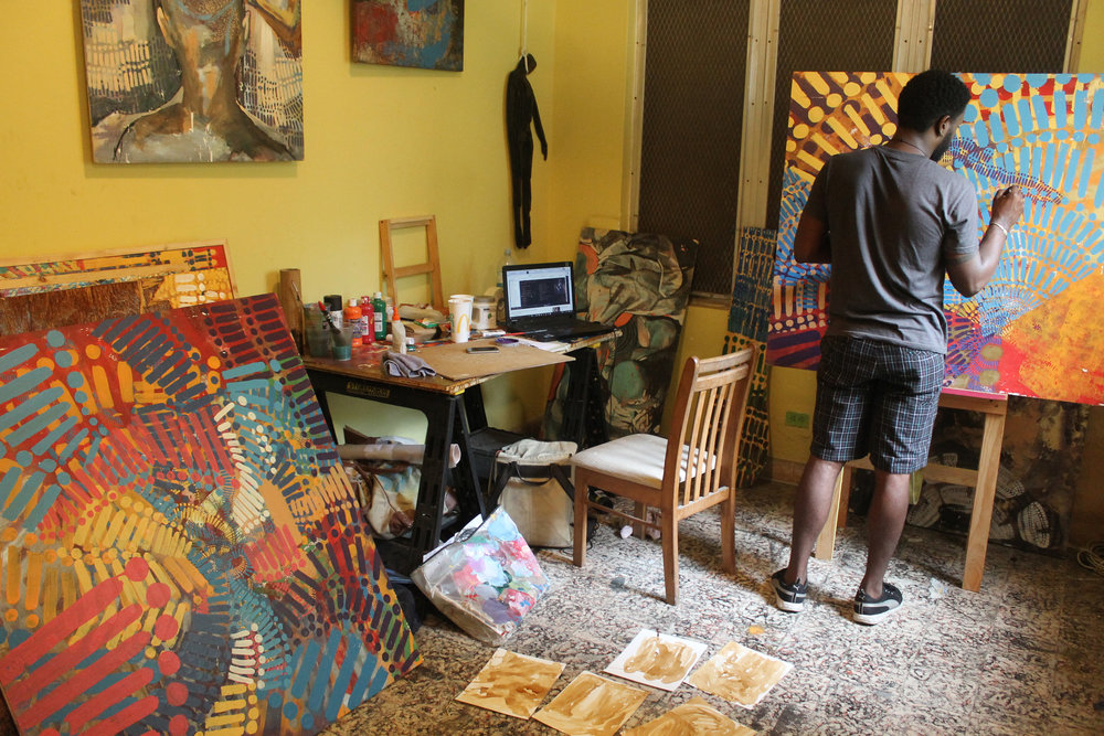 Artist Navarro Newton in his studio working as one of three recipients of the 2016 Popop Junior Residency Prize. Image courtesy of Popopstudios ICVA.