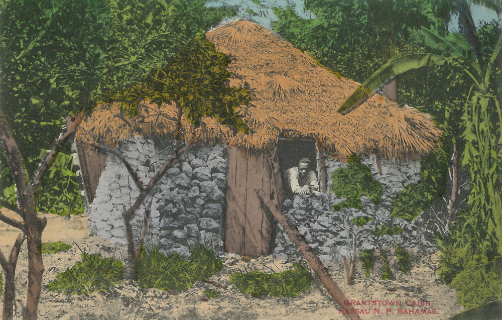 "'Grantstown Cabin' (estimated c.1890-1930), handcoloured colonial-era postcard by James ""Doc"" Sands."