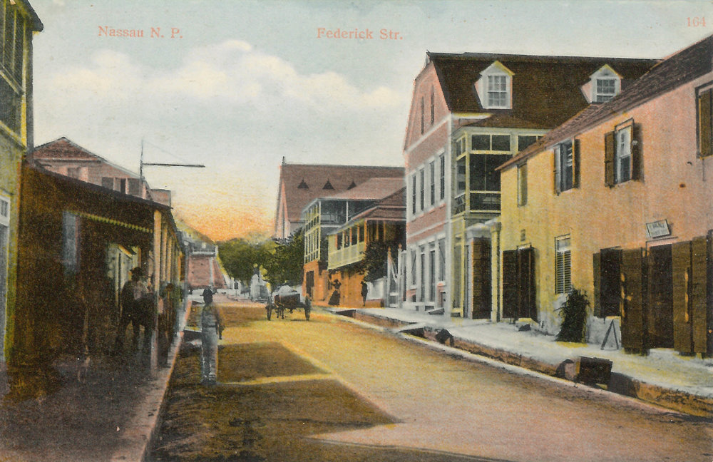 'Federick Street'  (estimated c.1890-1930). Handcoloured colonial-era postcard by unknown artist. Image courtesy of the NAGB. Part of the National Collection.