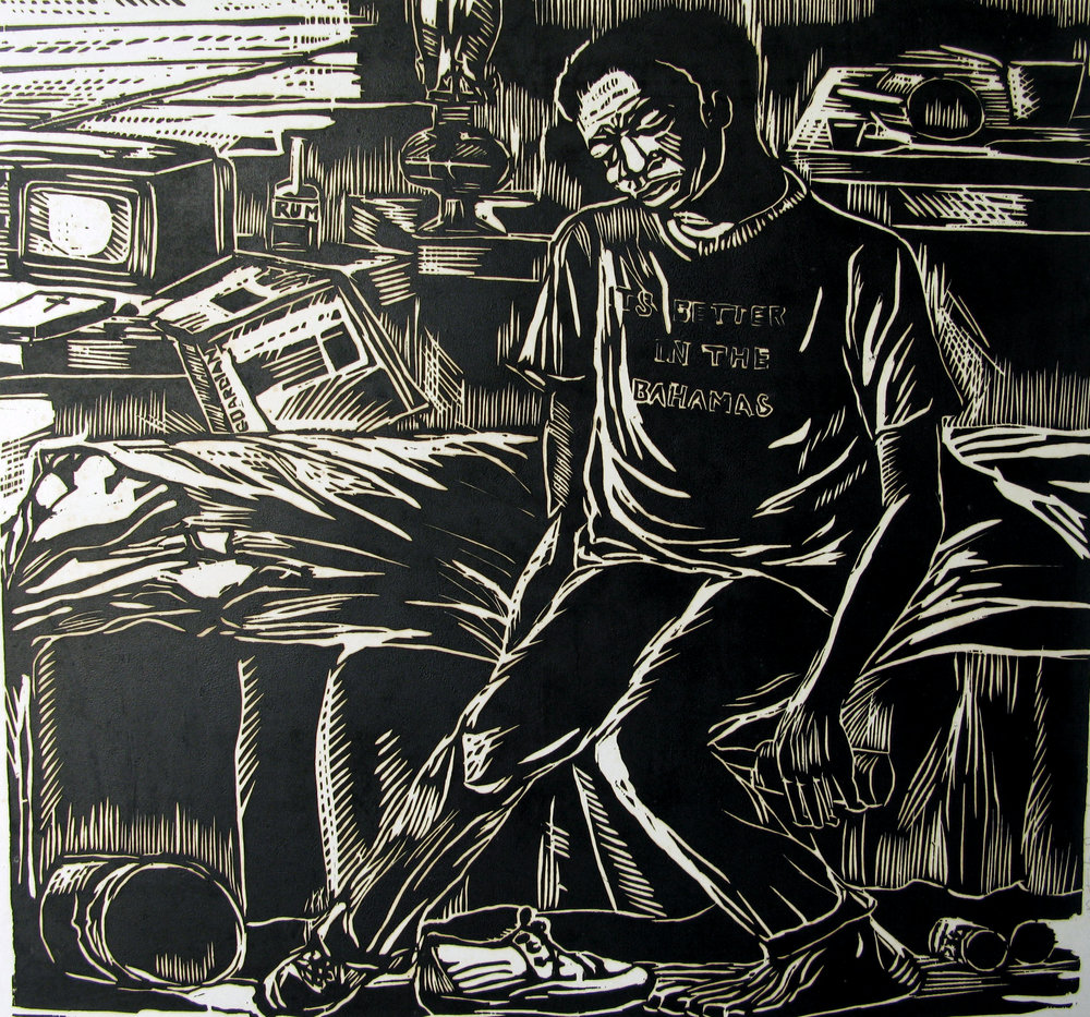"Max Taylor. Down and Out (Its better in The Bahamas). 1982. Woodcut. 20.5"" by 22.5"""