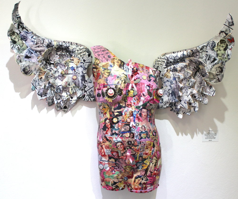 Sue Katz-Lightbourn, 'Pink Angel' (2016), paper mache wings, plaster cast, vintage ads, found objects, dimensions variable.