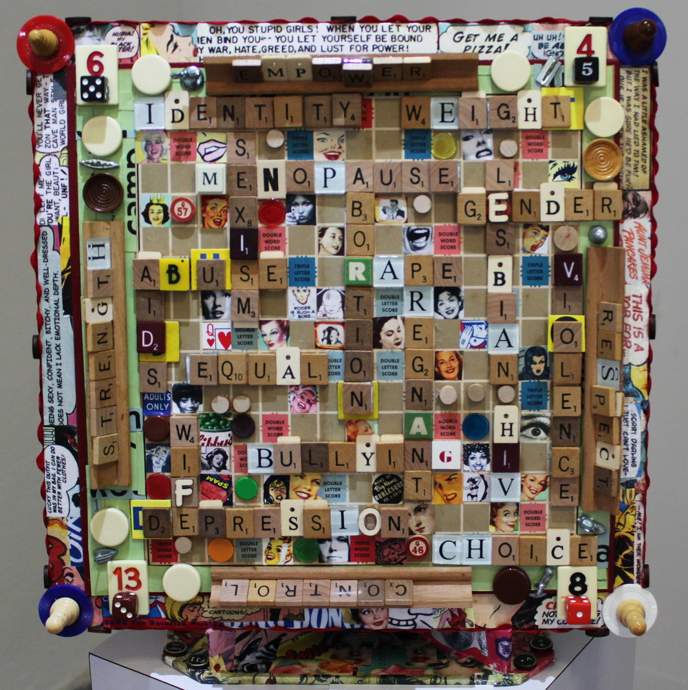 Sue Katz-Lightbourn, 'Grown Up Scrabble' (2016), scrabble board, scrabble tiles, found objects, collage, 18 x 18.