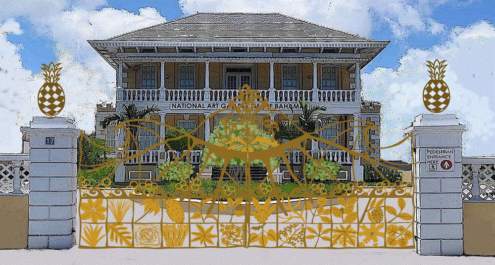 1.     Model of the Gates Commission for the National Art Gallery of The Bahamas, by Tyrone Ferguson, with Villa Doyle in the background. Model courtesy of Tyrone Ferguson.