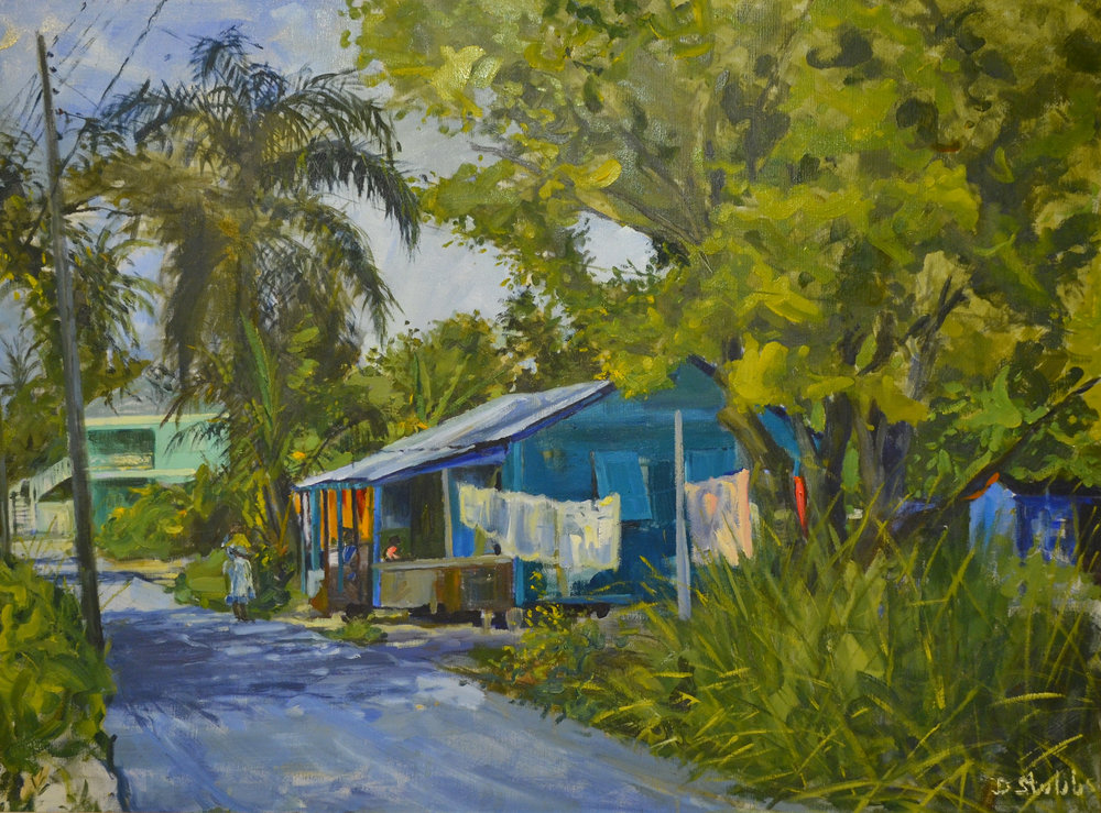 "1.     ""Bain Town"" (1984), Dorman Stubbs, oil on canvas, 30 x 40. Part of the National Collection, gifted by FINCO."