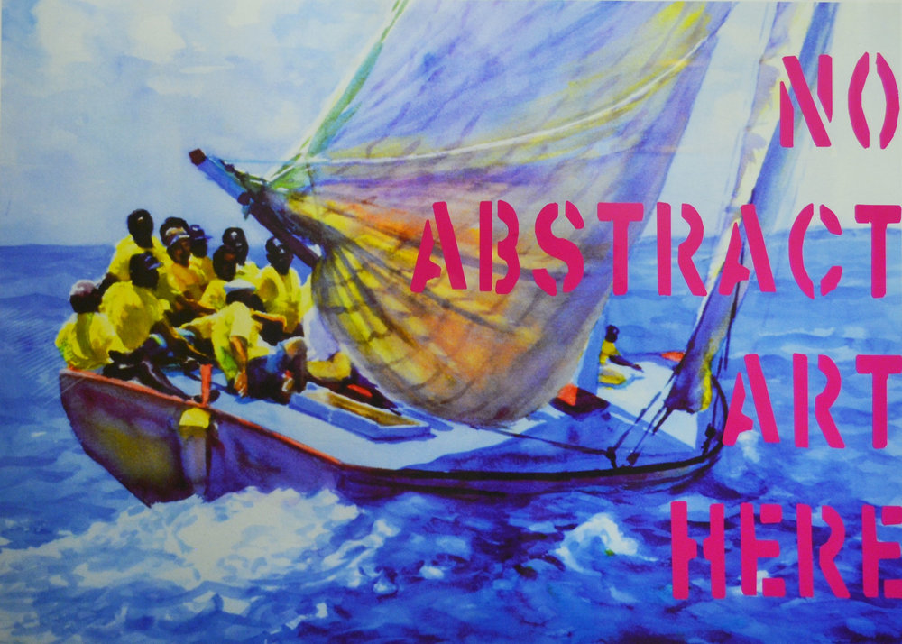 'No Abstract Art Here' (2006). Part of the 'Real Bahamian Art Series' by Dionne Benjamin-Smith. On display at the NAGB as part of the new Permanent Exhibition 'Revisiting An Eye For The Tropics'. From the Dawn Davies Collection.