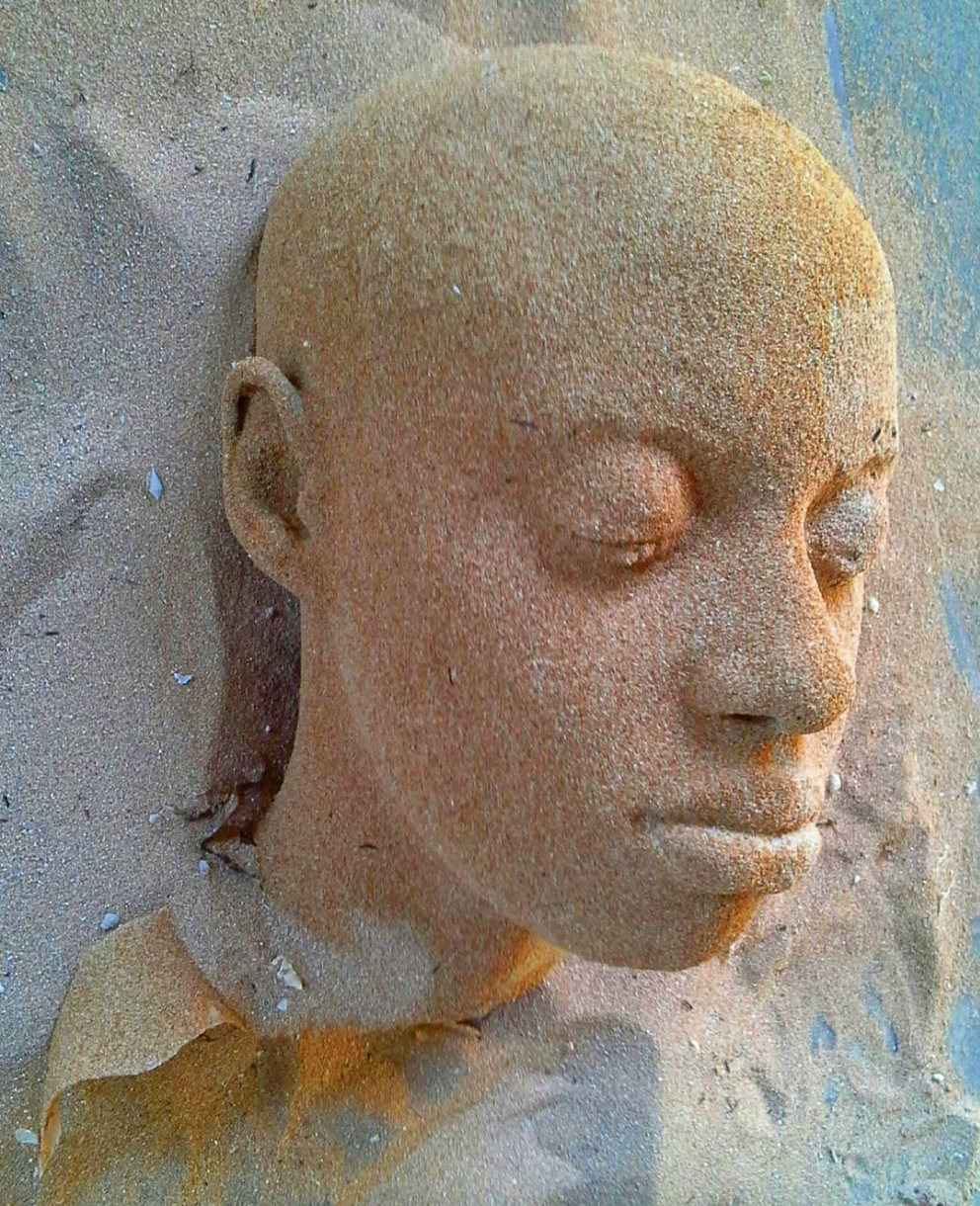 'Island Girl Nowé Harris-Smith',  sand, coral, resin. by Edrin Symonette, 2017
